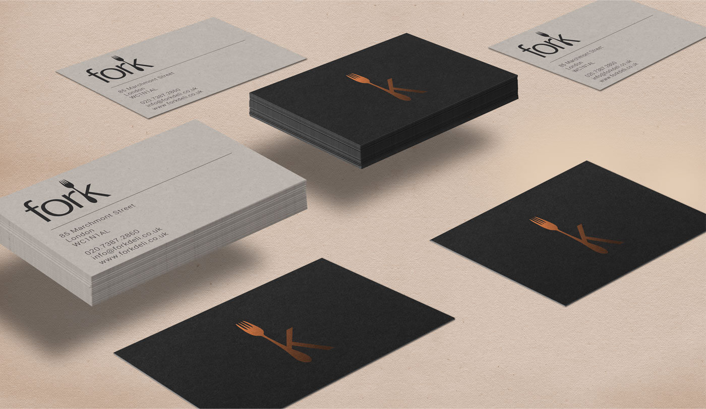 monginigraphics - fork deli business cards